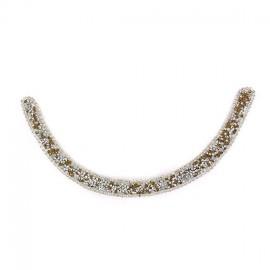 Princess rhinestones Collar jewels iron-on applique - silver