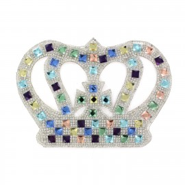 Crown with rhinestones iron-on applique - multicolored