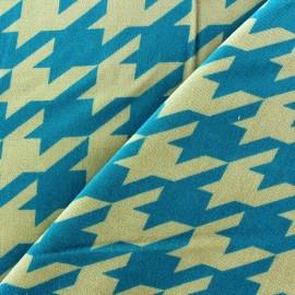 Tissu Velours ras pied de coq turquoise fond sable x 10cm