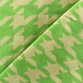 Short velvet fabric - puppytooth lime / sand x 10cm