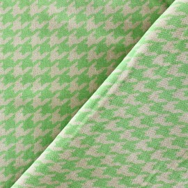 Short velvet fabric - Houndstooth lime / sand x 10cm