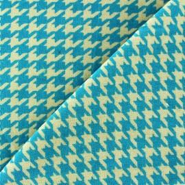 Tissu Velours ras pied de poule turquoise fond sable x 10cm