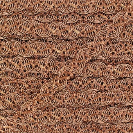 Brocarde Interlaced serpentine braid trimming, flowers x 50cm - copper