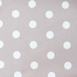 Tissu enduit coton pois blanc fond grès x 10cm