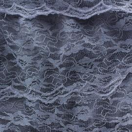 Tissu Dentelle à volants cousus sur tulle bleuet x 10cm