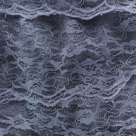 Tissu Dentelle à volants cousus sur tulle écrue x 10cm