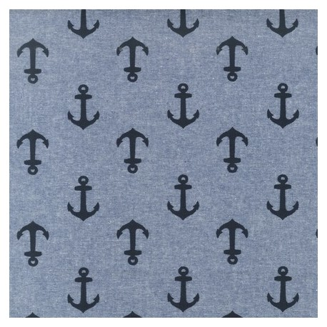 Chambray Nautical Fabric - Indigo Ancre x 10cm