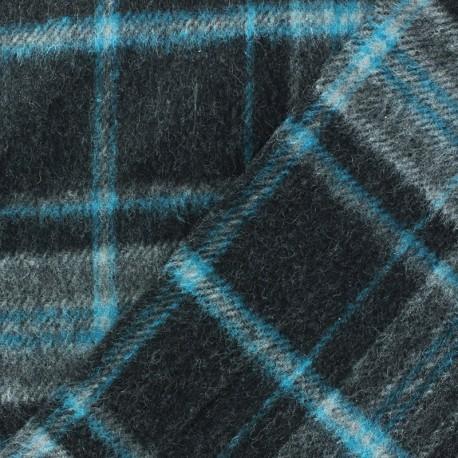 Tissu Lainage gratté turquoise fond gris x 10cm