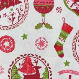 Tissu coton Christmas Wishes green x 30cm