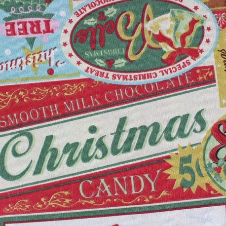 Tissu coton Christmas Wishes green x 30cm