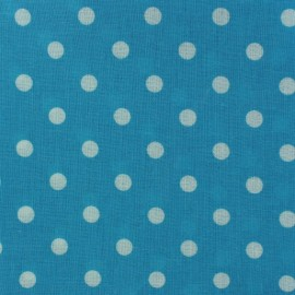 Tissu enduit coton Pois Turquoise x 10cm