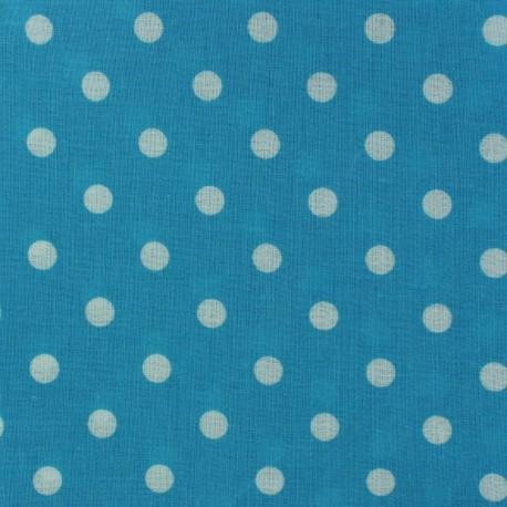 Tissu enduit coton Mini Pois Turquoise x 10cm