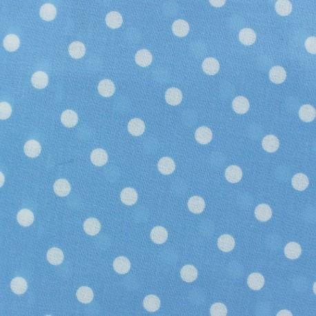 Tissu enduit coton Pois Bleu Ciel x 10cm