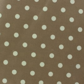 ♥ Only one piece 100cm X 130 cm ♥ Coated Cotton Fabric - Taupe Dots