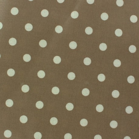 Coated Cotton Fabric - Taupe Dots x 10cm