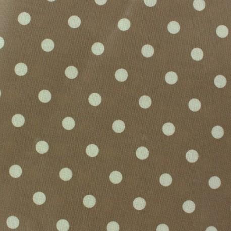 Tissu enduit coton Pois Taupe x 10cm