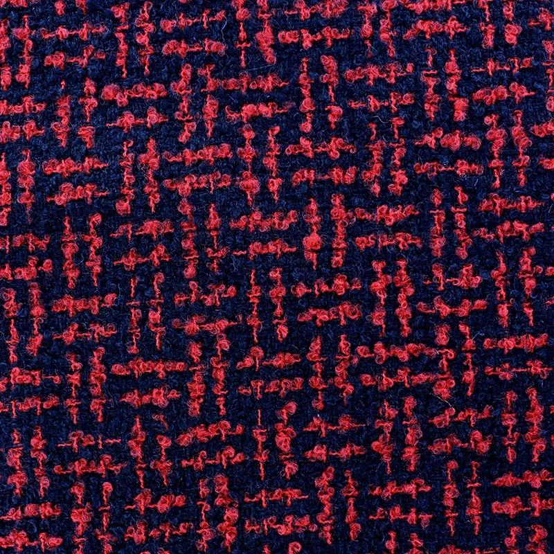 Tissus pas cher tissu tweed labyrinthe rouge noir - Tissus rouge pas cher ...