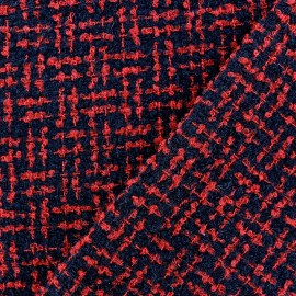 Tweed Labyrinthe fabric - red and black x 10cm