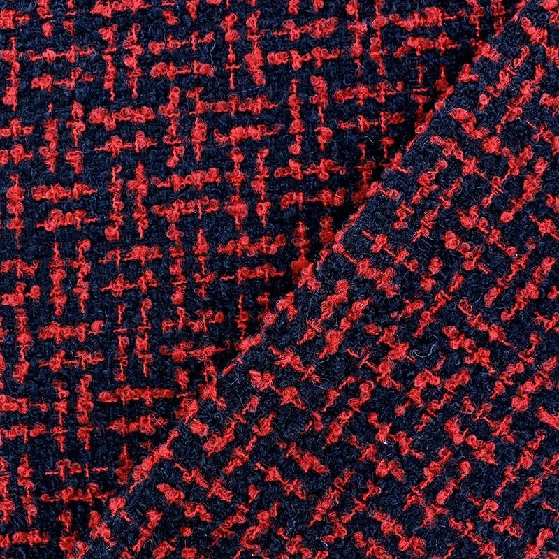tissus pas cher tissu tweed labyrinthe rouge noir. Black Bedroom Furniture Sets. Home Design Ideas