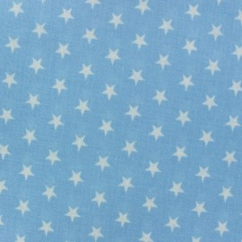 Tissu enduit Etoiles blanc /ciel x 10cm