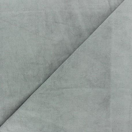 Tissu velours ras Melda Gris perle x 10cm