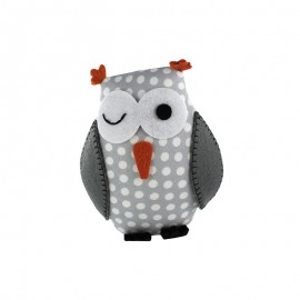Owl pincushion Little white dots - light grey