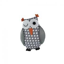 Owl pincushion Little white dots - grey
