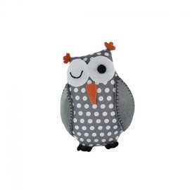 Owl pincushion Little white dots - grey