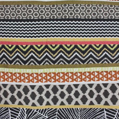 tissu amazonie rayure bayad re or noir. Black Bedroom Furniture Sets. Home Design Ideas