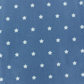 Tissu enduit Etoiles MAGIC blanc / denim x 10cm