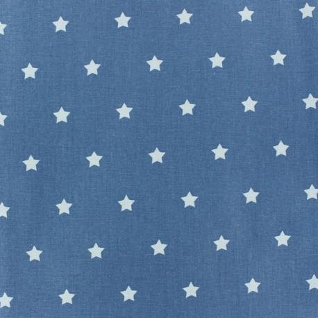 Coated Fabric - Stars MAGIC white/denim x 10cm