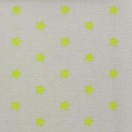 Tissu enduit Etoiles MAGIC  beige / anis x 10cm