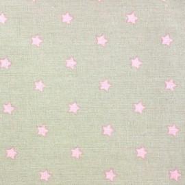 Tissu enduit Etoiles MAGIC  beige / rose x 10cm