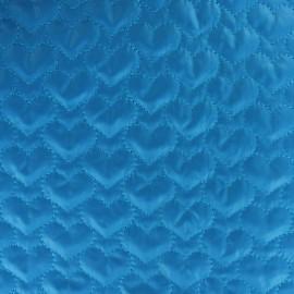 Tissu matelassé coeurs recto-verso bleu x 10cm