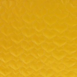 Tissu matelassé coeurs recto-verso jaune x 10cm