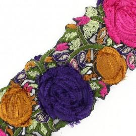 Guipure India Roses velours Rose / Violet x 50cm