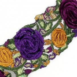 Guipure India Roses velours Prune / Violet x 50cm