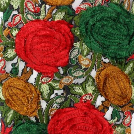 Guipure India Roses velours Rouge Noël / Vert x 50cm