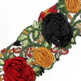 Guipure lace ribbon, India velvet Roses x 50cm - red/black