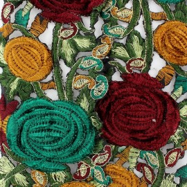 Guipure India Roses velours Marron / Vert x 50cm