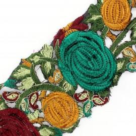Guipure India Roses velours Marron / Vert x 50cm