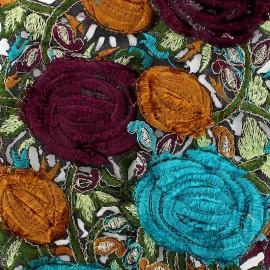 Guipure India Roses velours Bleu Canard / Prune x 50cm