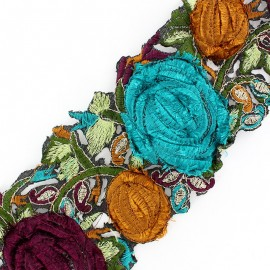 ♥ Coupon 120 cm ♥ Guipure lace ribbon, India velvet Roses  - aero blue/plum