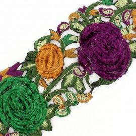 Guipure India Roses velours Violet / Vert x 50cm