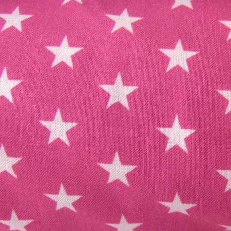 Stars Fabric - White / Fuchsia x 10cm