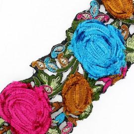 Guipure lace ribbon, India velvet Roses x 50cm - turquoise/pink