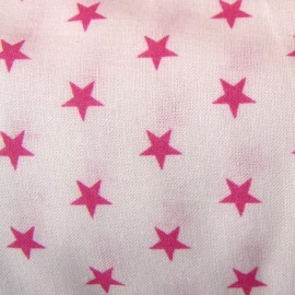 Tissu étoiles fuchsia/blanc x10cm