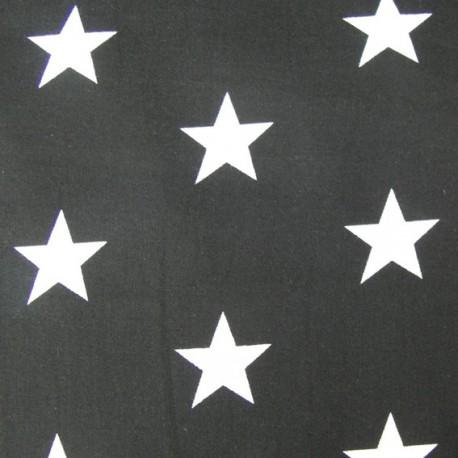 Big Stars Fabric - Black x 10cm