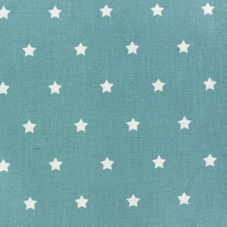 Coated Fabric - Stars MAGIC white/ocean blue x 10cm