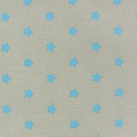 Tissu enduit Etoiles MAGIC  beige / turquoise x 10cm